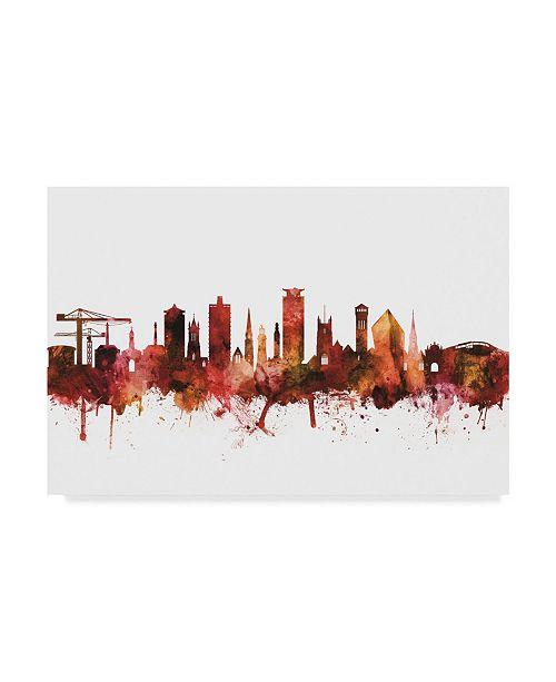 "Trademark Global Michael Tompsett Plymouth England Skyline Red Canvas Art - 15"" x 20"""