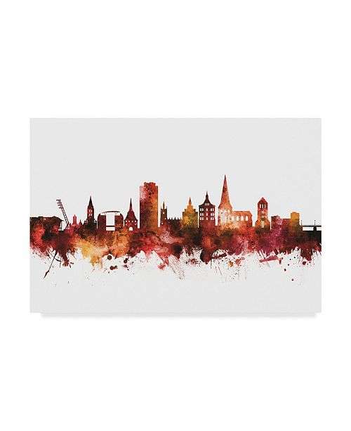 "Trademark Global Michael Tompsett Rostock Germany Skyline Red Canvas Art - 15"" x 20"""