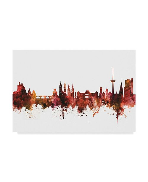 "Trademark Global Michael Tompsett Koblenz Germany Skyline Red Canvas Art - 15"" x 20"""