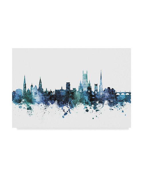 """Trademark Global Michael Tompsett Worcester England Skyline Blue Canvas Art - 20"""" x 25"""""""