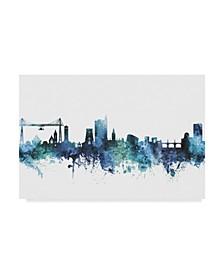 "Michael Tompsett Newport Wales Skyline Blue Canvas Art - 37"" x 49"""