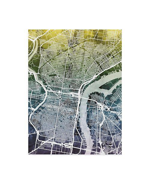 "Trademark Global Michael Tompsett Philadelphia Pennsylvania City Street Map Blue Yellow Canvas Art - 15"" x 20"""