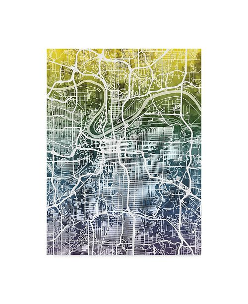 "Trademark Global Michael Tompsett Kansas City Missouri City Map Blue Yellow Canvas Art - 20"" x 25"""