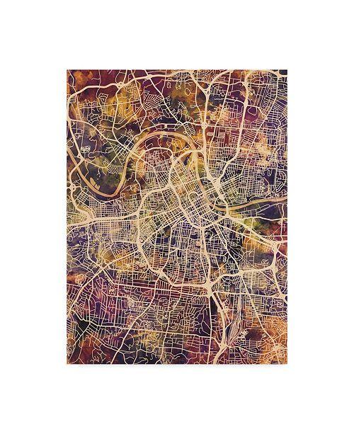 "Trademark Global Michael Tompsett Nashville Tennessee City Map II Canvas Art - 20"" x 25"""