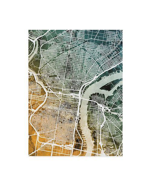 "Trademark Global Michael Tompsett Philadelphia Pennsylvania Street Map Teal Orange Canvas Art - 15"" x 20"""