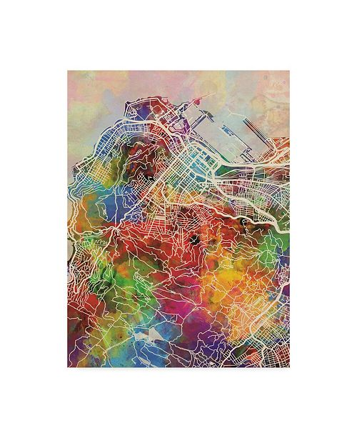 "Trademark Global Michael Tompsett Cape Town South Africa City Street Watercolor Map Canvas Art - 15"" x 20"""