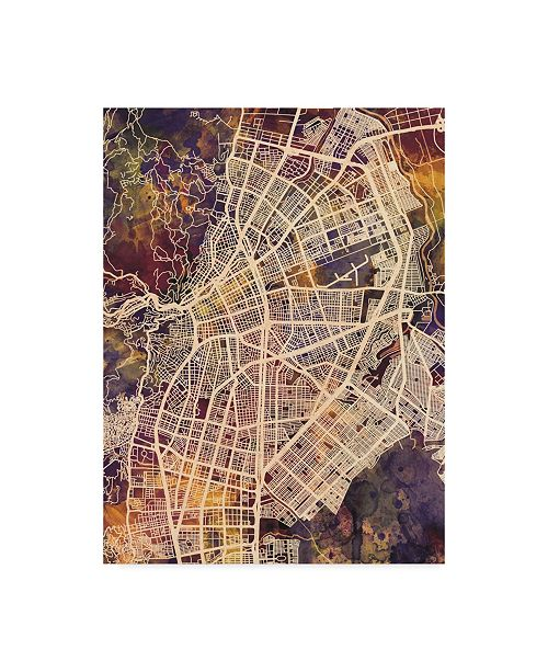 "Trademark Global Michael Tompsett Cali Colombia City Map II Canvas Art - 20"" x 25"""