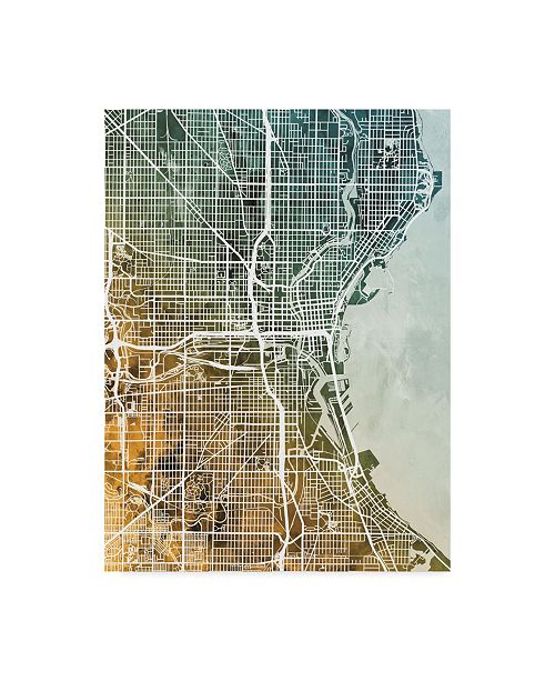 "Trademark Global Michael Tompsett Milwaukee Wisconsin City Map Teal Orange Canvas Art - 15"" x 20"""