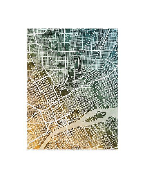 "Trademark Global Michael Tompsett Detroit Michigan City Map Teal Orange Canvas Art - 20"" x 25"""
