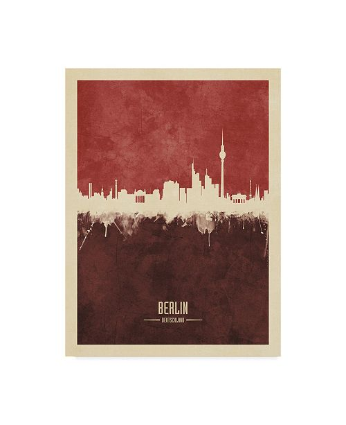 "Trademark Global Michael Tompsett Berlin Germany Skyline Red II Canvas Art - 20"" x 25"""
