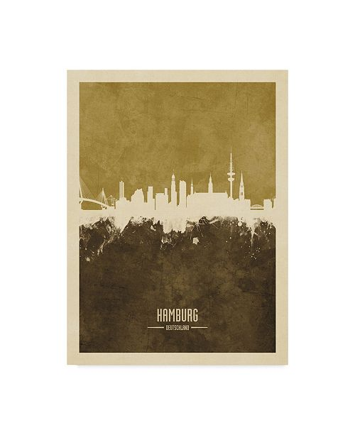 "Trademark Global Michael Tompsett Hamburg Germany Skyline Brown Canvas Art - 20"" x 25"""