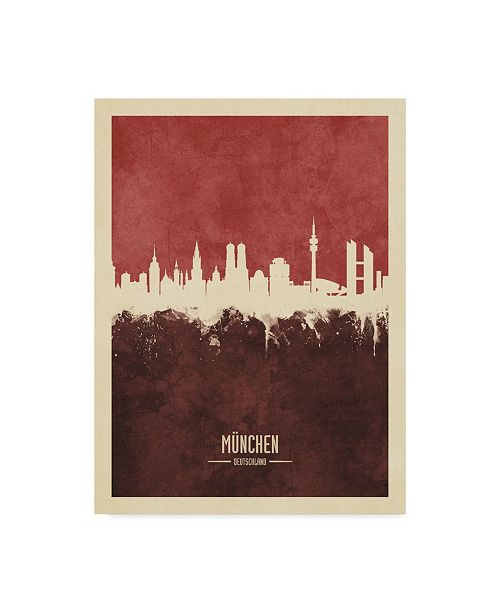 "Trademark Global Michael Tompsett Munich Germany Skyline Red II Canvas Art - 20"" x 25"""
