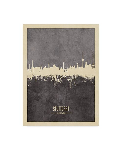 "Trademark Global Michael Tompsett Stuttgart Germany Skyline Gray Canvas Art - 20"" x 25"""
