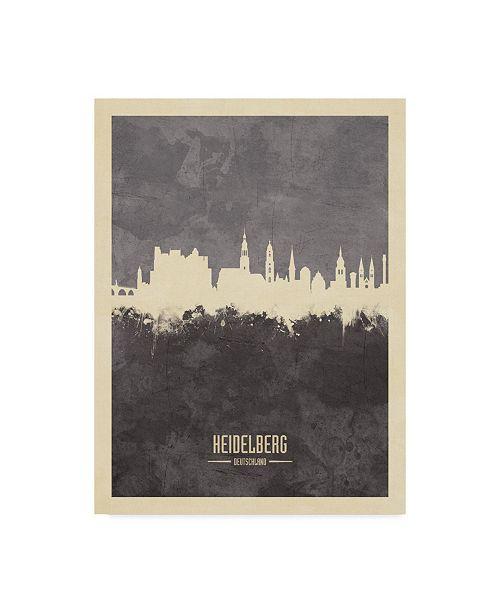 "Trademark Global Michael Tompsett Heidelberg Germany Skyline Gray Canvas Art - 20"" x 25"""