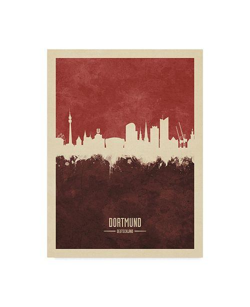 "Trademark Global Michael Tompsett Dortmund Germany Skyline Red II Canvas Art - 15"" x 20"""