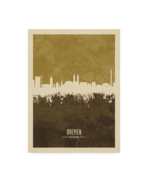 "Trademark Global Michael Tompsett Bremen Germany Skyline Brown Canvas Art - 15"" x 20"""
