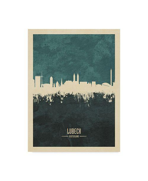 "Trademark Global Michael Tompsett Lubeck Germany Skyline Teal Canvas Art - 20"" x 25"""