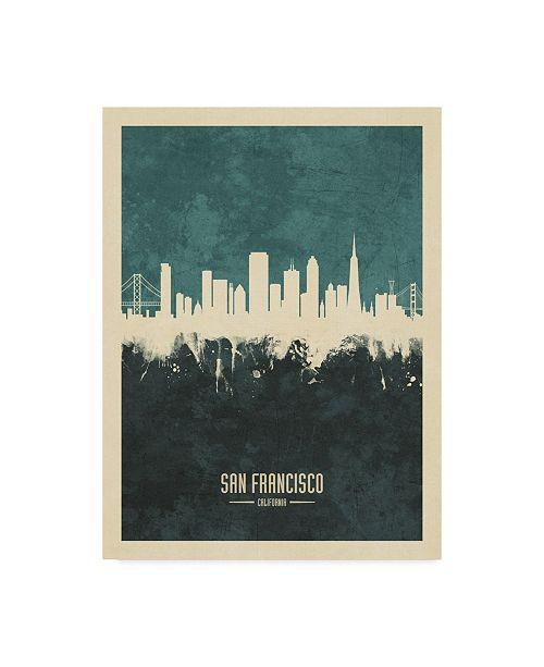 "Trademark Global Michael Tompsett San Francisco California Skyline Teal Canvas Art - 20"" x 25"""