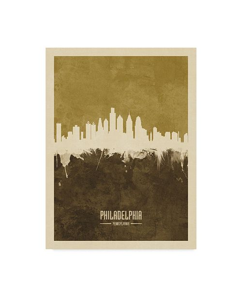 "Trademark Global Michael Tompsett Philadelphia Pennsylvania Skyline Brown Canvas Art - 15"" x 20"""