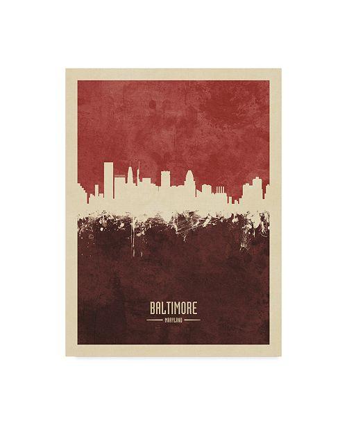 "Trademark Global Michael Tompsett Baltimore Maryland Skyline Red II Canvas Art - 20"" x 25"""