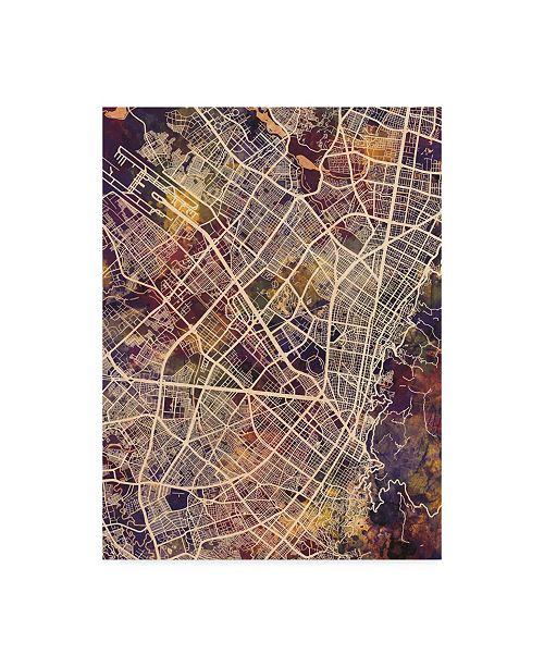 "Trademark Global Michael Tompsett Bogota Colombia City Map II Canvas Art - 15"" x 20"""