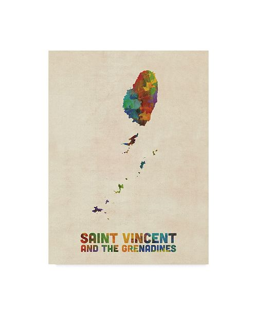 "Trademark Global Michael Tompsett Saint Vincent and the Grenadines Watercolor Map Canvas Art - 15"" x 20"""
