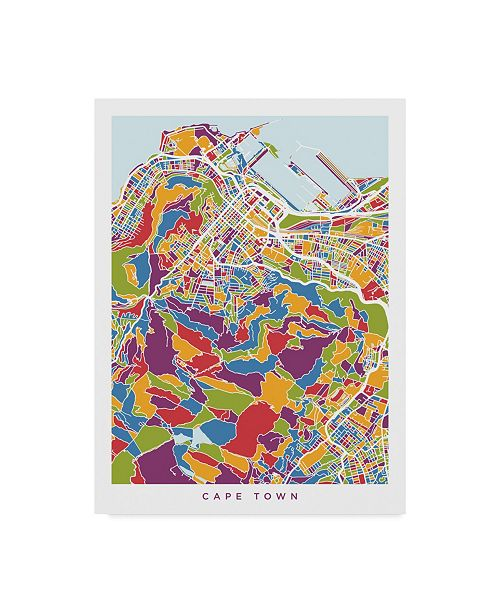 "Trademark Global Michael Tompsett Cape Town South Africa City Street Map Canvas Art - 20"" x 25"""