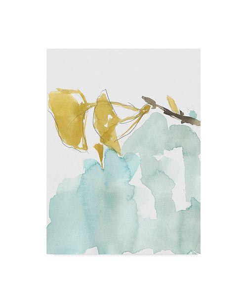"Trademark Global Jennifer Goldberger Ginkgo on Dusty Teal I Canvas Art - 20"" x 25"""