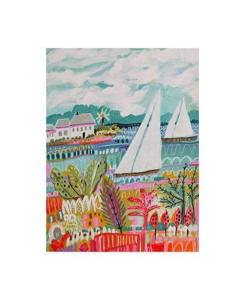 "Trademark Global Karen Fields Two Sailboats and Cottage II Canvas Art - 20"" x 25"""
