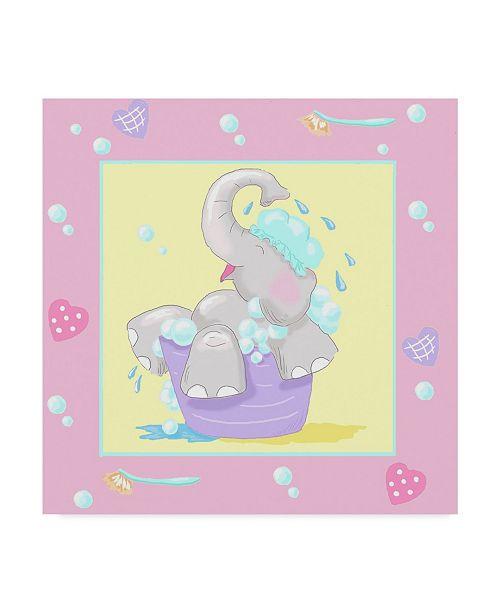 "Trademark Global Jade Reynolds Baby Elephant Bath III Canvas Art - 15"" x 20"""