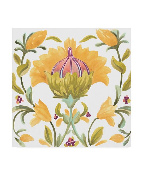 "Trademark Global June Erica Vess Abbey Floral Tiles V Canvas Art - 15"" x 20"""