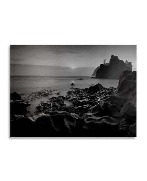 """Trademark Global Moises Levy Sunset at Ruby Beach Floating Brushed Aluminum Art - 22"""" x 25"""""""