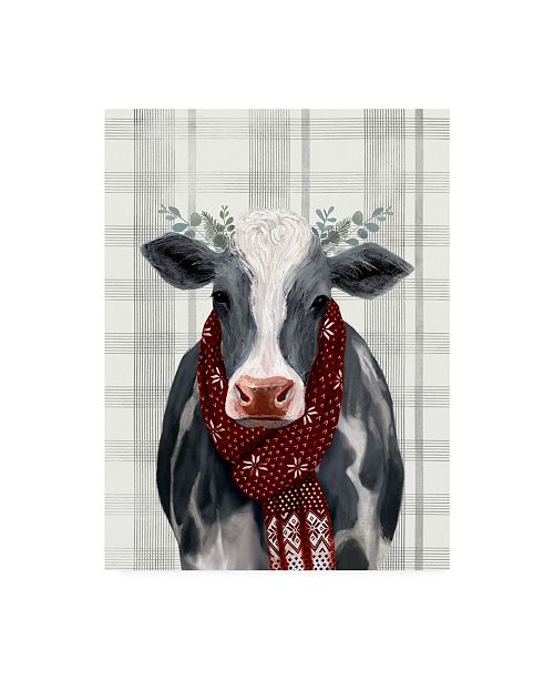 """Trademark Global Victoria Borges Yuletide Cow II Canvas Art - 37"""" x 49"""""""