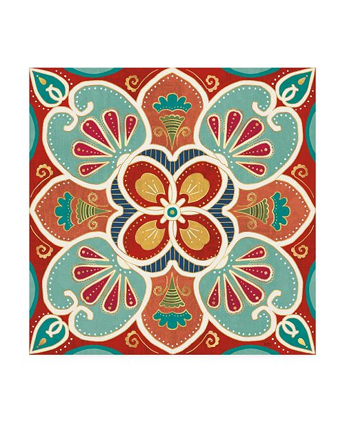 "Trademark Global Veronique Charron Folk Floral 7 Canvas Art - 15"" x 20"""
