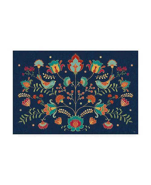 "Trademark Global Veronique Charron Folk Floral 1 Dark Canvas Art - 20"" x 25"""
