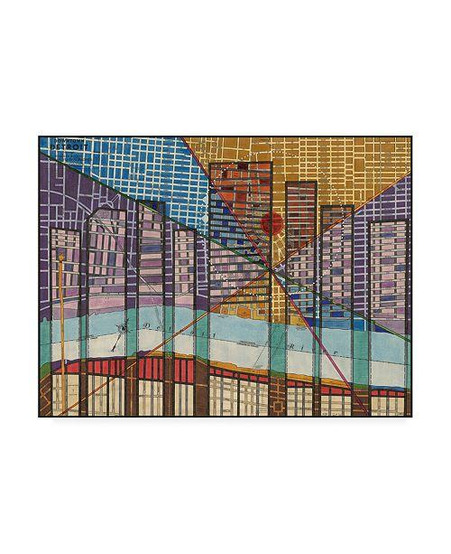 "Trademark Global Nikki Galapon Modern Map of Detroit Canvas Art - 15"" x 20"""