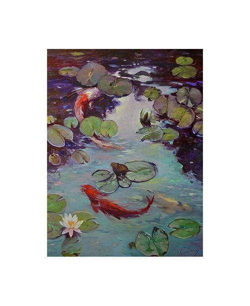 "Trademark Global Chuck Larivey Red Koi and Lilies Canvas Art - 15"" x 20"""