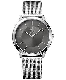 Calvin Klein Watch, Men's Swiss Minimal Stainless Steel Mesh Bracelet 40mm K3M21124
