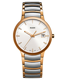 Rado Watch, Men's Swiss Centrix Two-Tone Stainless Steel Bracelet 38mm R30554103