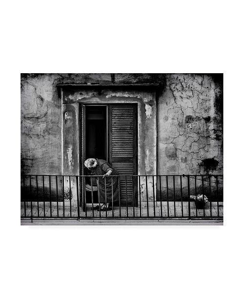 "Trademark Global Omer Ates Kiziltug Leaning on the Balcony Canvas Art - 27"" x 33.5"""
