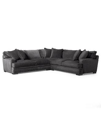 Teddy Fabric 3 Piece Sectional Sofa Furniture Macy S