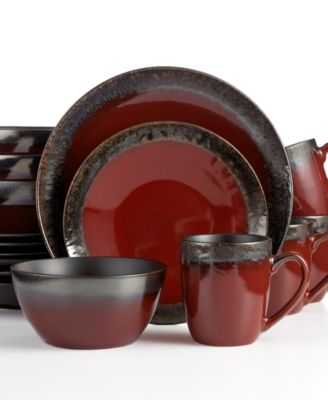 Gourmet Basics by Mikasa Calder Red 16-Pc. Set Service for 4  sc 1 st  Macy\u0027s : cheap red dinnerware sets - pezcame.com