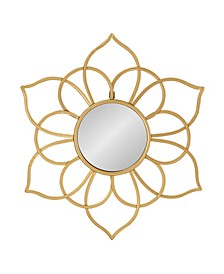 "Brienne Metal Flower Round Wall Mirror - 24"" x 21"""
