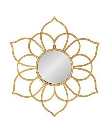 "Kate and Laurel Brienne Metal Flower Round Wall Mirror - 24"" x 21"""