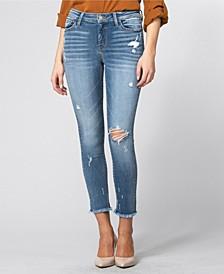 Mid Rise Fray Hem Crop Skinny Jeans