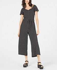 Petite Polka-Dot Cropped Jumpsuit