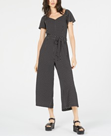 Monteau Petite Polka-Dot Cropped Jumpsuit