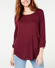 BCX Juniors' Button-Trimmed Textured Top