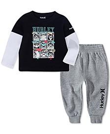 Baby Boys 2-Pc. Layered-Look Graphic-Print T-Shirt & Jogger Pants Set