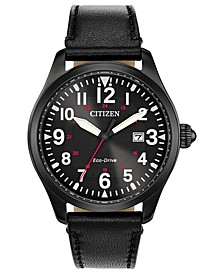 Eco-Drive Men's Chandler Black Leather Strap Watch 42mm